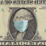 На изображении доллар в респираторной маске